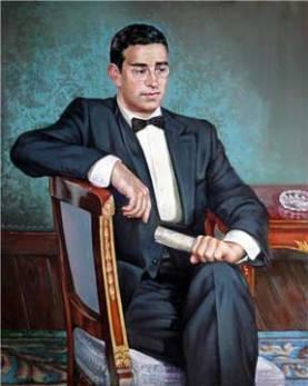 Cuadro con la imagen de Gregorio Tobajs que ha sido colocado en la Diputación junto a los demás presidentes de la institución.
