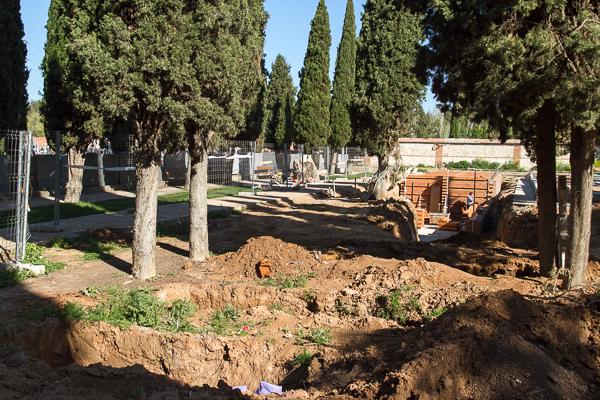 Obras en el Patio 4º del cementerio de Guadalajara. FMGU/Oscar de Marcos
