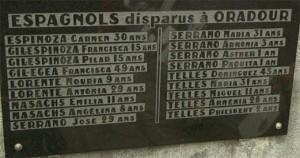 Parte de la placa que contiene los nombres españoles