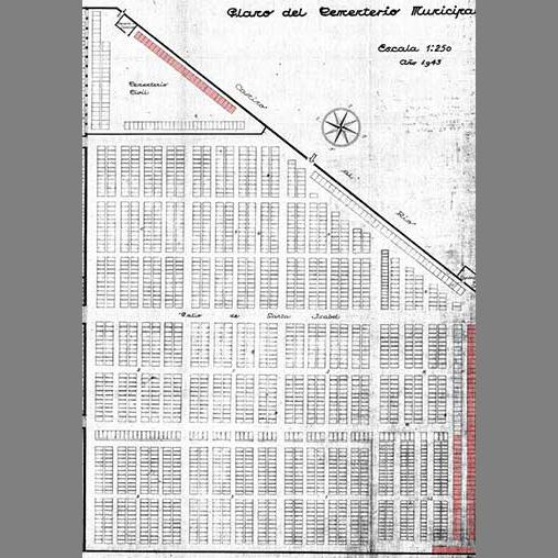 Plano de 1943 que marca en rojo los lugares donde fueron enterradas victimas del franquismo. En la parte inferior, la fila 5ª (larga) y 4ª (corta). Esta última ha sido destruida. Archivo Municipal de Guadalajara. (El resaltado de color es nuestro)