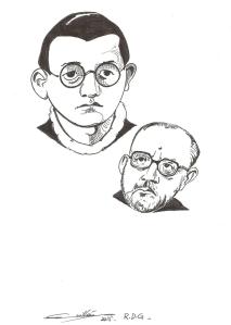 El poeta Ramón de Garciasol en dos etapas de su vida. Dibujo: Pif