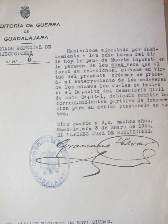 Orden de enterramiento del 3 de enero de 1941. (AMGU)